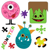 Cute and funny monster collection Royalty Free Stock Image