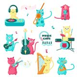 Cute funny music cats vector isolated illustration. Cute music cats. Vector illustration of funny little characters playing musical instruments, singing royalty free illustration