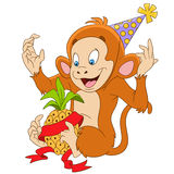 Cute funny new year monkey with a pineapple Royalty Free Stock Images