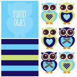 Cute and funny owl character pattern  Royalty Free Stock Image