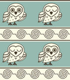 Cute and funny owl pattern. Vector illustration Stock Photo