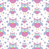 Cute funny owls seamless pattern. Funny childish background. Vector illustration royalty free illustration