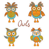 Cute funny owls Stock Photo
