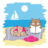 Cute and funny owls on vacation lying on the beach by the sea and relaxing on a sun lounger. Vector. Cute and funny owl couple on vacation lying on the beach by Stock Photography