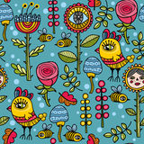 Cute and funny pattern with floral elements, yellow birds and wild bees. Royalty Free Stock Photos