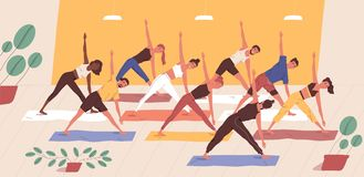 Cute funny people practicing yoga together. Group of smiling active men and women performing gymnastic exercise stock illustration