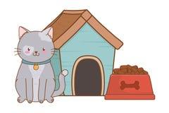 Cute funny pet cartoon. Cute funny pet cat with house carrier cartoon vector illustration graphic design vector illustration
