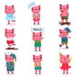 Cute funny pig characters set, piggy boys and girls in different poses and situations cartoon vector Illustrations. On a white background Stock Photo