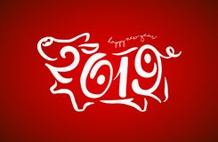 Cute funny pig. Happy New Year. Chinese symbol of the 2019 year. Excellent festive gift card. Vector illustration stock illustration