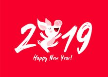 Cute funny pig. Happy New Year vector illustration
