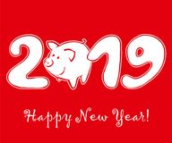 Cute funny pig on red background royalty free illustration
