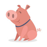 Cute Funny Piglet Flat Style Vector Icon Stock Photos