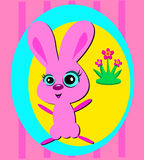 Cute Funny Pink Bunny Royalty Free Stock Photos