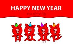 Cute funny pink pig. Happy New Year. Chinese symbol of the 2019 year. vector black line drawing four pigs dancing celebrating art. Cute funny pink pig. Happy New vector illustration