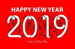 Cute funny pink pig. Happy New Year. Chinese symbol of the 2019 year. vector black line drawing four pigs dancing celebrating art. Cute funny pink pig. Happy New stock illustration