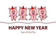 Cute funny pink pig. Happy New Year. Chinese symbol of the 2019 year. vector black line drawing four pigs dancing celebrating. Art royalty free illustration
