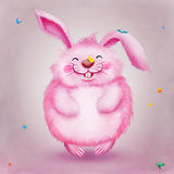 Cute funny pink rabbit with butterflies Royalty Free Stock Photos