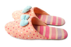 Free Cute Funny Pink Striped Dotted Girl Clown Slippers Isolated On White Stock Images - 74842184