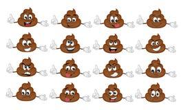 Cute funny poop emoticon set. illustration stock illustration