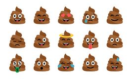 Cute funny poop set. Emotional shit icons. Happy emoji, emoticons. Smiling faces symbols. Vector illustration