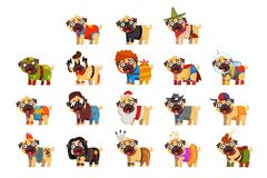Cute funny pug dog character in colorful funny costumes set, vector Illustrations royalty free illustration