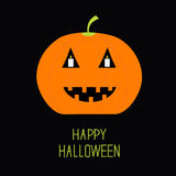 Cute funny pumpkin. Candle in the eyes. Halloween card for kids. Flat design. Black bachground Royalty Free Stock Images