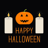 Cute funny pumpkin. Two candle. Halloween card for kids. Flat design. Black background Stock Image