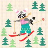 Cute funny raccoon on skiing in the forest. Winter knitted pattern. Christmas background. Greeting card Royalty Free Stock Photo