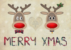 Cute funny reindeer in love on old paper background with text merry christmas Stock Images