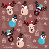 Cute and funny reindeer and snowman pattern Royalty Free Stock Photo