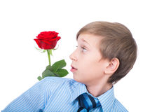 Cute funny romantic boy wearing a tie holding a red rose behind his back. Cute funny boy wearing a tie holding a red rose behind his back looking surprised Royalty Free Stock Photography