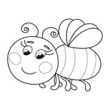Cute funny ruddy bee flying, coloring book page Stock Images