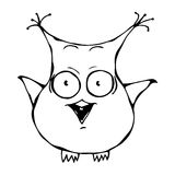 Cute Funny Scared Crazy Mad Insane Owl Bird . Isolated On a White Background Doodle Cartoon Hand Drawn Sketch Vector Illustration. Stock Images