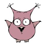 Cute Funny Scared Crazy Mad Insane Owl Bird . Isolated On a White Background Doodle Cartoon Hand Drawn Sketch Vector Royalty Free Stock Photo