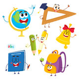 Cute and funny school item characters with smiling human faces. Back to school concept, cartoon vector illustration isolated on white background. Set of school royalty free illustration