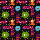 Cute funny seamless pattern with bright monsters Stock Images