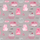 Cute funny seamless pattern with cats and accessories royalty free illustration