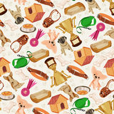 Cute funny seamless pattern with dogs and things for pets. Retro seamless  pattern of dog icons Royalty Free Stock Image