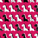 Cute funny seamless pattern with horses. Vector background with Royalty Free Stock Photography