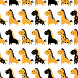 Cute funny seamless pattern with horses. Stock Photography