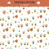 Cute funny seamless pattern with sweet cupcakes Royalty Free Stock Images