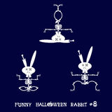Cute and funny skeleton rabbit in different poses: activity, dance, yoga, gymnastic. Cartoon style. Vector illustration Royalty Free Stock Photos