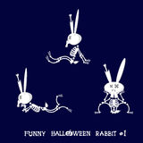 Cute and funny skeleton rabbit in different poses: activity, dance, yoga, gymnastic. Cartoon style. Vector illustration Royalty Free Stock Image