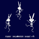 Cute and funny skeleton rabbit in different poses: activity, dance, yoga, gymnastic. Cartoon style. Vector illustration Stock Images