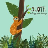 Cute funny sloth hanging on the tree. Sleepy and happy. Adorable hand drawn cartoon animal illustration. Vector cute stock illustration