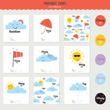 Cute and funny smiley weather icons Stock Photos