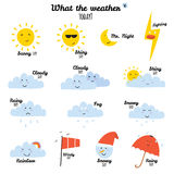 Cute and funny smiley weather icons Stock Image