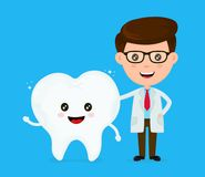 Cute funny smiling dentist and healthy. Happy tooth.Healthcare,medical,friends,doctor.teeth concept. Vector flat cartoon character icon design. Isolated on Stock Photography