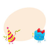Cute, funny, smiling gift box and birthday hat characters Stock Images