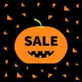 Cute funny smiling pumpkin with teeth. Halloween big sale banner poster card. Flat design. Black background. Orange triangle. Royalty Free Stock Photography